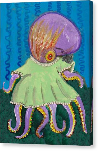 Baby Octopus In A Dress Canvas Print