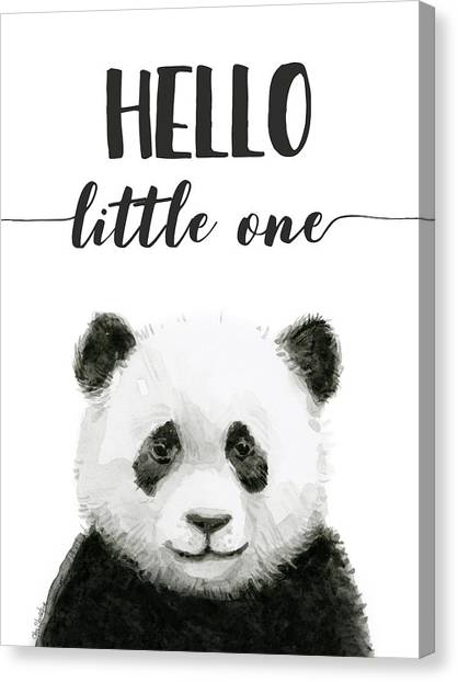 Panda Canvas Print - Baby Panda Hello Little One Nursery Decor by Olga Shvartsur