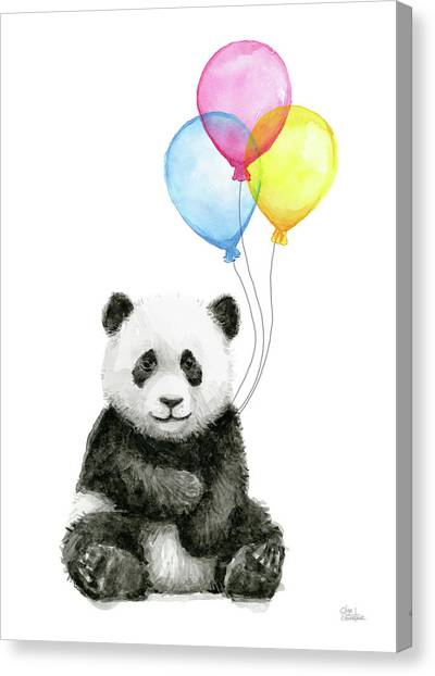 Panda Canvas Print - Baby Panda Watercolor With Balloons by Olga Shvartsur