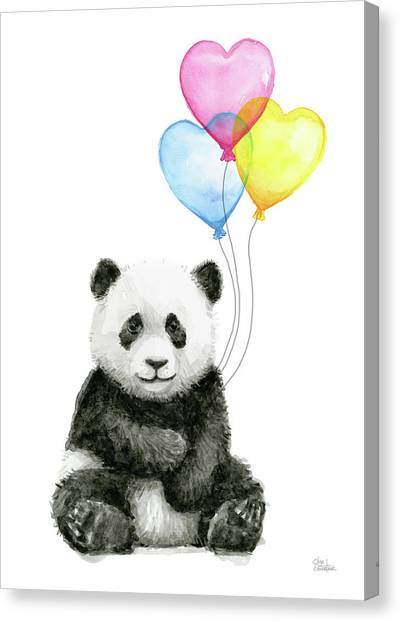 Balloons Canvas Print - Baby Panda With Heart-shaped Balloons by Olga Shvartsur