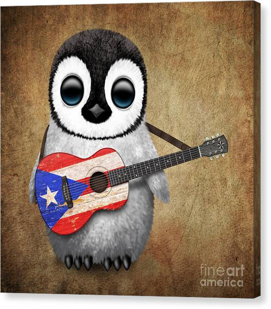 Puerto Rico Canvas Print - Baby Penguin Playing Puerto Rican Flag Guitar by Jeff Bartels