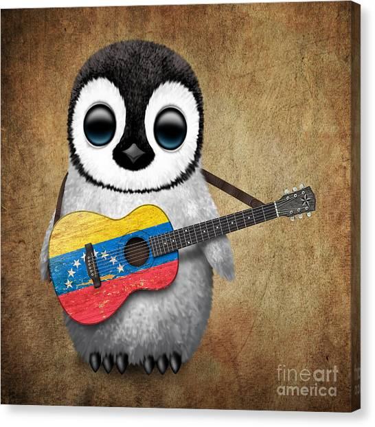 Venezuelan Canvas Print - Baby Penguin Playing Venezuelan Flag Guitar by Jeff Bartels