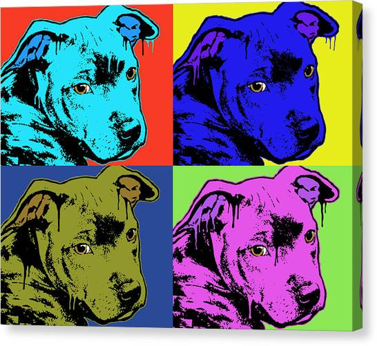 Pit Bull Canvas Print - Baby Pit Face by Dean Russo Art