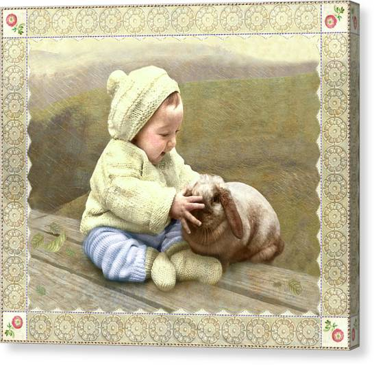 Baby Touches Bunny's Nose Canvas Print