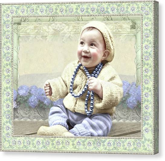 Baby Wears Beads Canvas Print