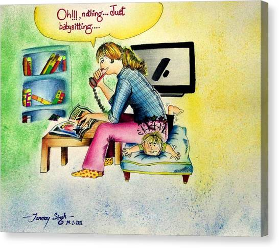 Babysitting Canvas Print by Tanmay Singh