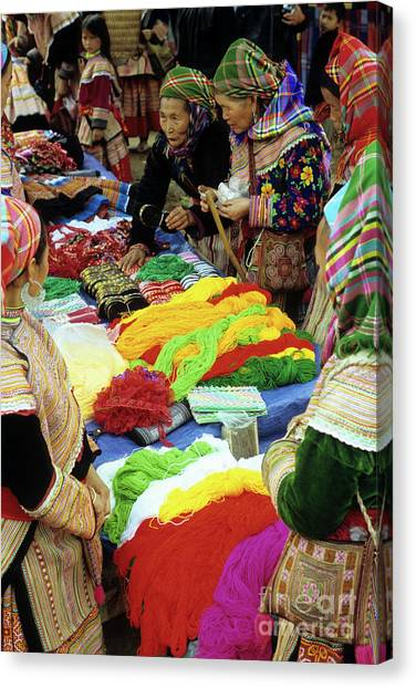 Canvas Print - Flower Hmong Wool Stall 02 by Rick Piper Photography