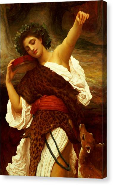 Tambourines Canvas Print - Bacchante by Frederic Leighton