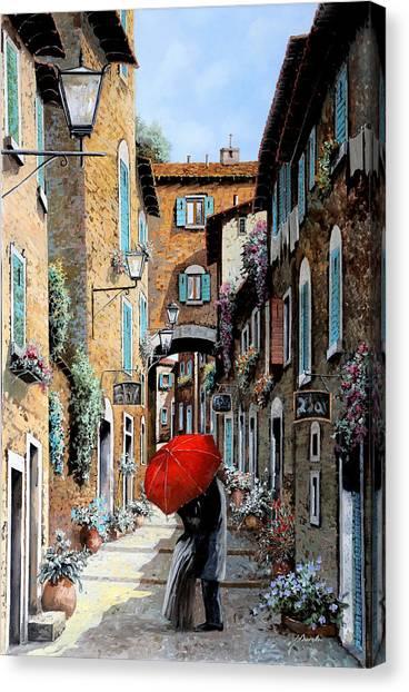 Street Scenes Canvas Print - Baci Nel Vicolo by Guido Borelli