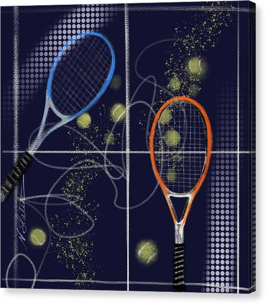 Tennis Racquet Canvas Print - Back And Fourth by Nicole Slater