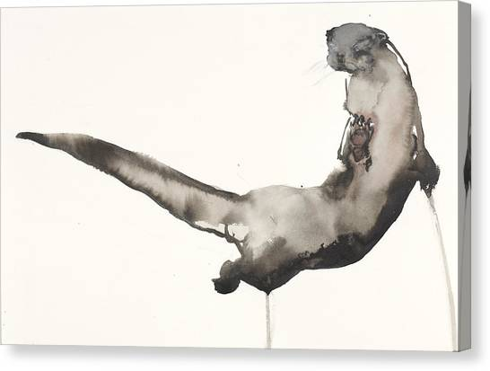 Otters Canvas Print - Back Awash   Otter by Mark Adlington