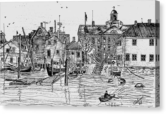 Back Of The Boat Yard On Eel Pond Canvas Print