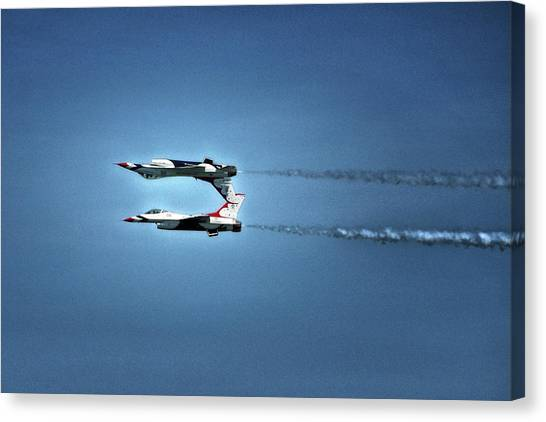 Canvas Print featuring the photograph Back To Back Thunderbirds Over The Beach by Bill Swartwout Fine Art Photography