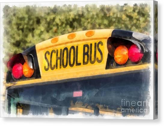 Elementary School Canvas Print - Back To School Bus Watercolor by Edward Fielding