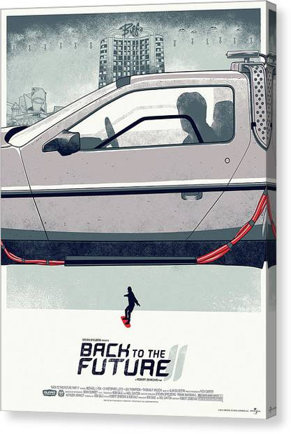 Back To The Future Canvas Print - Back To The Future Delorean Part 2 by Geek N Rock
