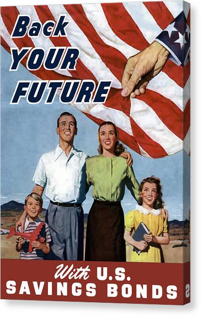 American Flag Canvas Print - Back Your Future With Us Savings Bonds by War Is Hell Store