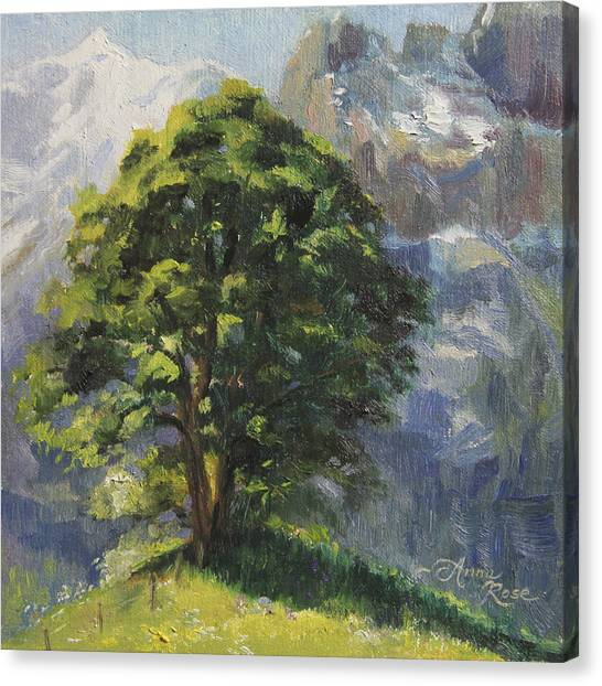 Switzerland Canvas Print - Backdrop Of Grandeur Plein Air Study by Anna Rose Bain