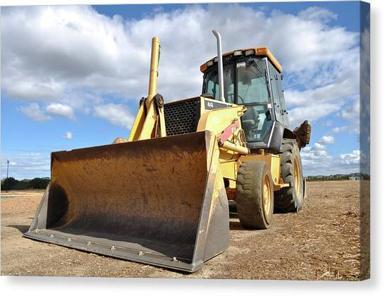 Backhoes Canvas Print - Backhoe Tractor Construction by Brandon Bourdages