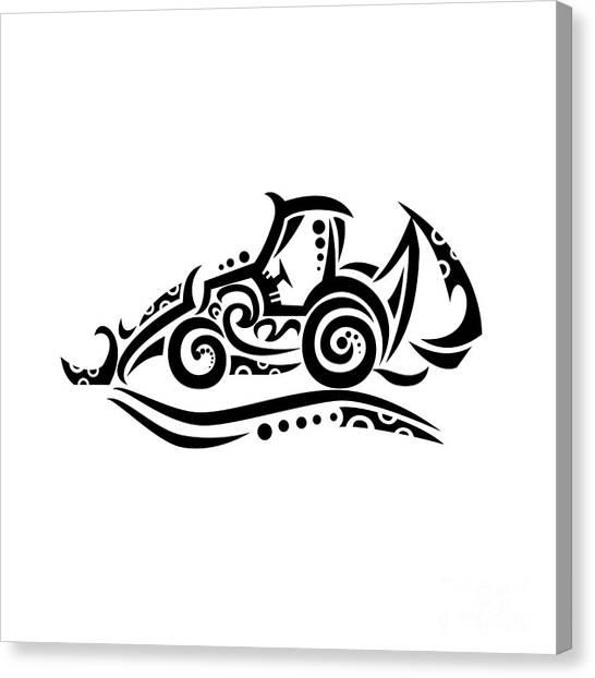 Backhoes Canvas Print - Backhoe Tribal Tattoo by Aloysius Patrimonio