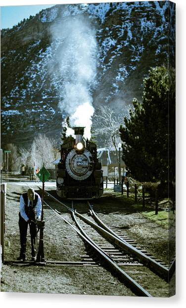 Backing Into The Station Canvas Print