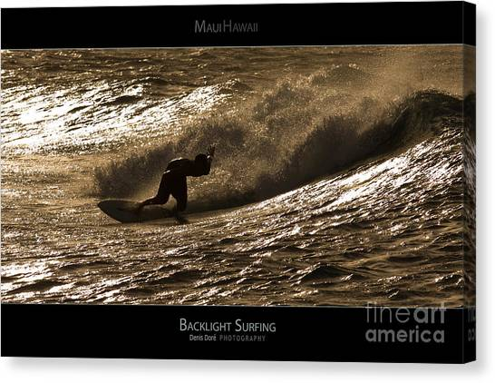 Backlight Surfing - Maui Hawaii Posters Series Canvas Print by Denis Dore