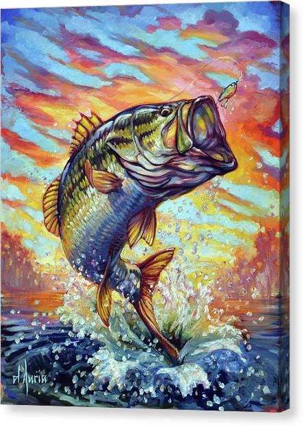 Trout Canvas Print - Backlit Bass by Tom Dauria