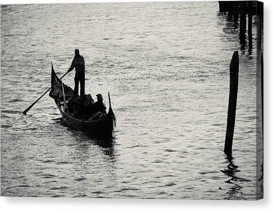 Backlit Gondola, Venice, Italy Canvas Print