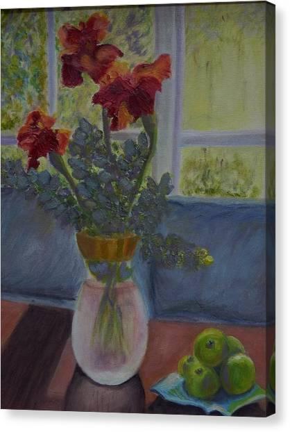 Backlit Irises Canvas Print by Bonnie Hanly