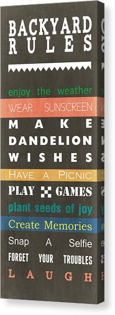 Peaches Canvas Print - Backyard Rules by Linda Woods