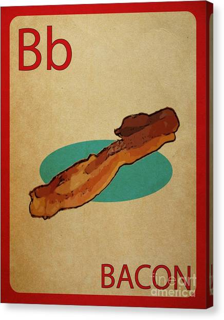 Bacon Vintage Style Flashcard Canvas Print by Mynameisjz JZ