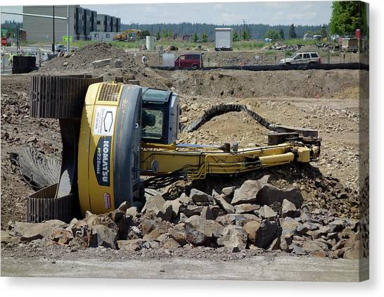 Backhoes Canvas Print - Bad Day At The Office . . . by Daniel Hagerman