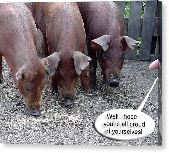 Pig Farms Canvas Print - Bad Piggies by Ross Powell