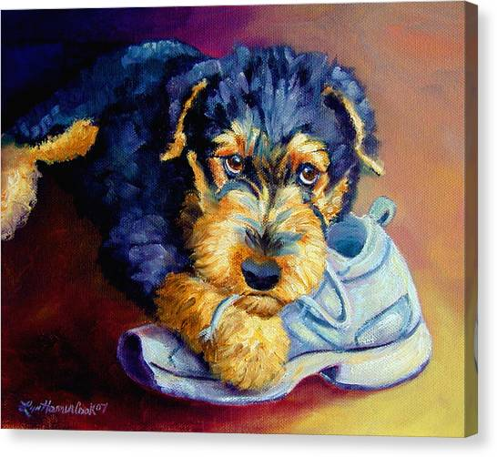Bad Puppy Airedale Terrier Canvas Print by Lyn Cook