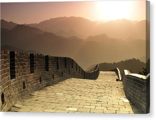 Mountain Sunrises Canvas Print - Badaling Great Wall, Beijing by Huang Xin