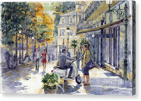 German Canvas Print - Baden-baden Sophienstr Last Warm Day by Yuriy Shevchuk