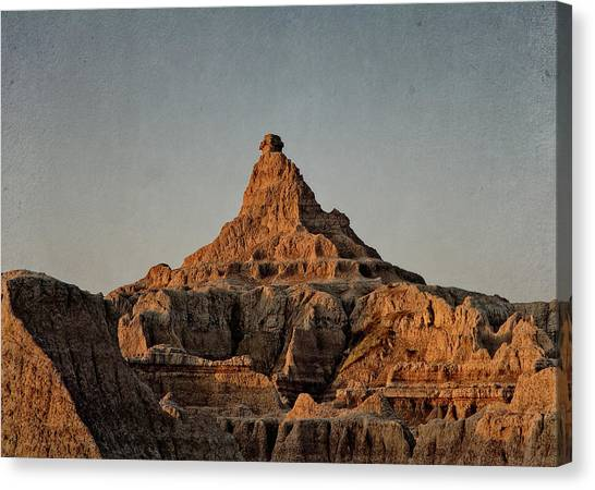 Canvas Print featuring the digital art Badlands At Sunrise by Christopher Meade