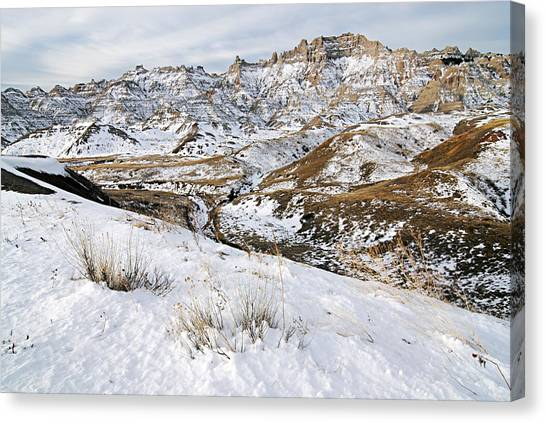 Badlands In Snow Canvas Print
