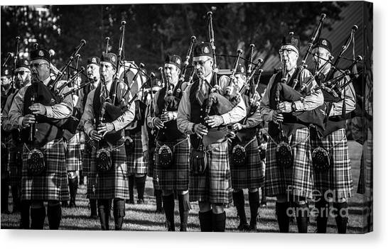 Bagpipes Canvas Print - Bagpipe Band - Scottish Festival And Highland Games by Gary Whitton