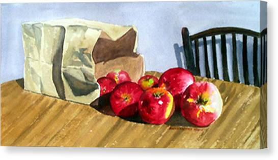 Bag With Apples Canvas Print by Anne Trotter Hodge