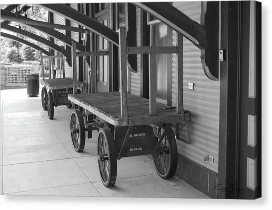 Baggage Carts Bw Canvas Print