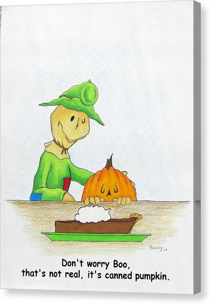 Baggs And Boo Canned Pumpkin Canvas Print