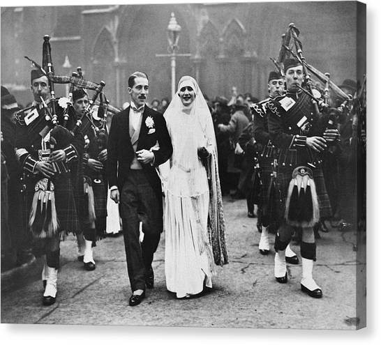 Bagpipes Canvas Print - Bagpipe Wedding Ceremony by Underwood Archives