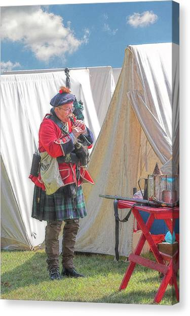 Bagpipes Canvas Print - Bagpipes In Camp by Randy Steele