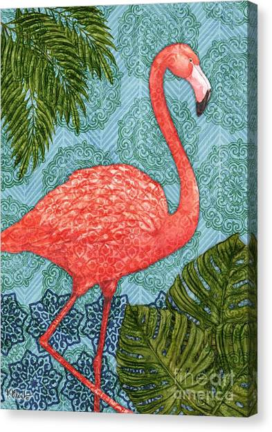 Flamingos Canvas Print - Bahama Flamingo - Vertical by Paul Brent