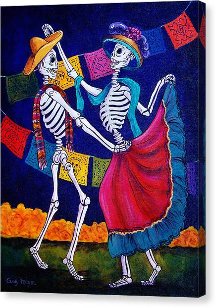 Skeleton Canvas Print - Bailando by Candy Mayer