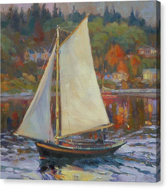 Orange Tree Canvas Print - Bainbridge Island Sail by Steve Henderson