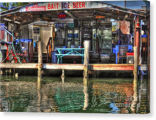 Bait Ice  Beer Shop On Bay Canvas Print