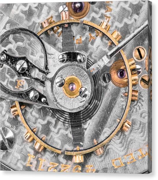 Ticks Canvas Print - Balance Wheel Of A Vintage Pocketwatch by Jim Hughes