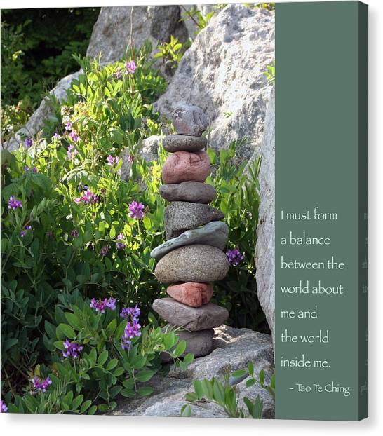 Balancing Stones With Tao Quote Canvas Print