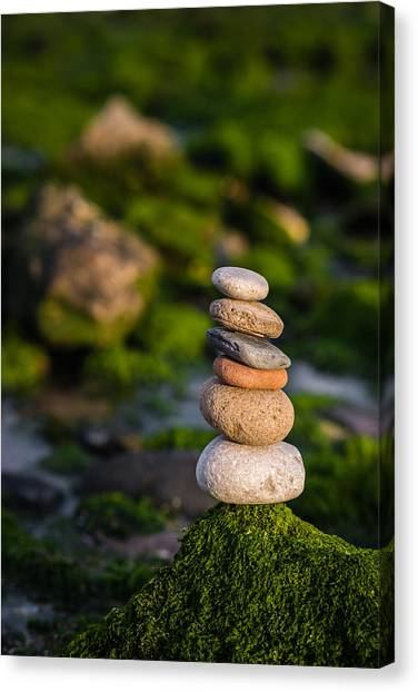 Mystic Setting Canvas Print - Balancing Zen Stones By The Sea by Marco Oliveira